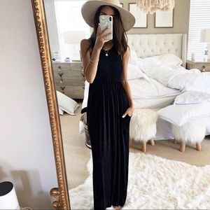 Dresses & Skirts - Black dress tank boho summer cocktail party dress